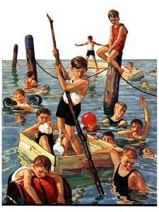 """Crowd of Boys Swimming,""July 28, 1928 by Eugene Iverd"