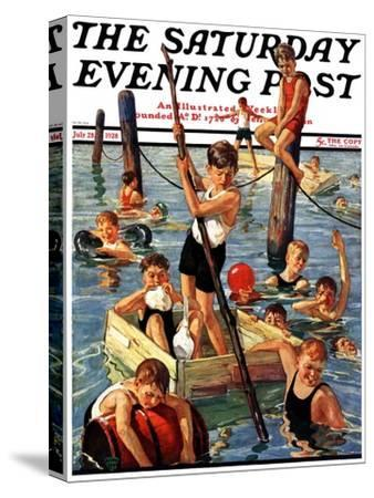 """""""Crowd of Boys Swimming,"""" Saturday Evening Post Cover, July 28, 1928"""