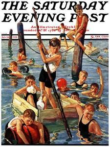 """Crowd of Boys Swimming,"" Saturday Evening Post Cover, July 28, 1928 by Eugene Iverd"