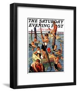 """""""Crowd of Boys Swimming,"""" Saturday Evening Post Cover, July 28, 1928 by Eugene Iverd"""