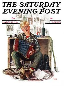 """""""Daydreaming Accordianist,"""" Saturday Evening Post Cover, March 13, 1926 by Eugene Iverd"""