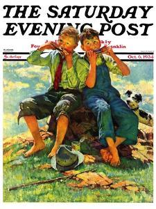 """""""Harmonica Players,"""" Saturday Evening Post Cover, October 6, 1934 by Eugene Iverd"""