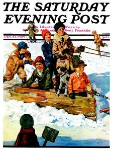 """""""Homemade Sleigh,"""" Saturday Evening Post Cover, January 19, 1929 by Eugene Iverd"""
