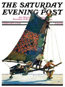 """Iceboat,"" Saturday Evening Post Cover, February 4, 1928 by Eugene Iverd"