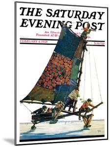 """""""Iceboat,"""" Saturday Evening Post Cover, February 4, 1928 by Eugene Iverd"""