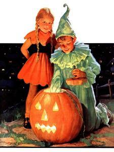 """""""Lighting the Pumpkin,""""November 3, 1934 by Eugene Iverd"""