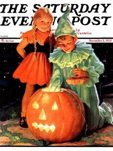 """Lighting the Pumpkin,"" Saturday Evening Post Cover, November 3, 1934 by Eugene Iverd"