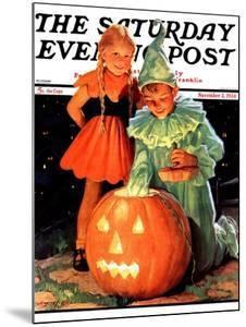 """""""Lighting the Pumpkin,"""" Saturday Evening Post Cover, November 3, 1934 by Eugene Iverd"""