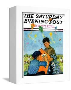 """""""Patching a Kite,"""" Saturday Evening Post Cover, September 15, 1928 by Eugene Iverd"""