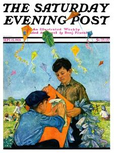 """Patching a Kite,"" Saturday Evening Post Cover, September 15, 1928 by Eugene Iverd"