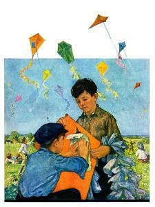 """Patching a Kite,""September 15, 1928 by Eugene Iverd"