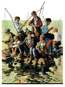 """Raft Fishing,""July 30, 1927 by Eugene Iverd"