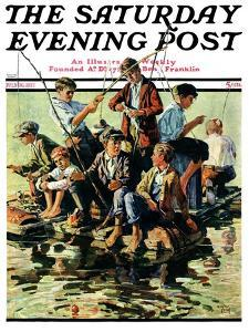 """Raft Fishing,"" Saturday Evening Post Cover, July 30, 1927 by Eugene Iverd"