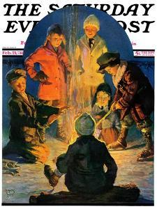"""Skaters' Bonfire,"" Saturday Evening Post Cover, February 21, 1931 by Eugene Iverd"