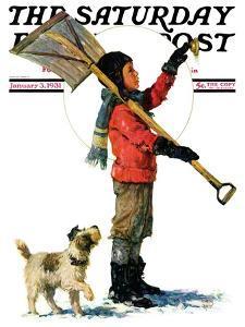"""Snow Shoveler,"" Saturday Evening Post Cover, January 3, 1931 by Eugene Iverd"