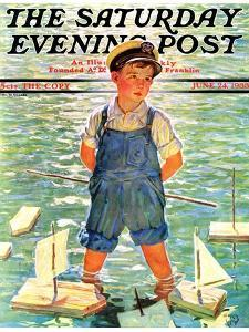 """Toy Sailboats,"" Saturday Evening Post Cover, June 24, 1933 by Eugene Iverd"