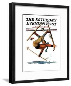 """""""Wipeout on Skis,"""" Saturday Evening Post Cover, March 3, 1928 by Eugene Iverd"""