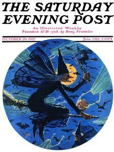 """""""Witches Night Out,"""" Saturday Evening Post Cover, October 29, 1927 by Eugene Iverd"""