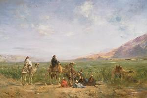 Travellers Resting at an Oasis by Eugene Lami