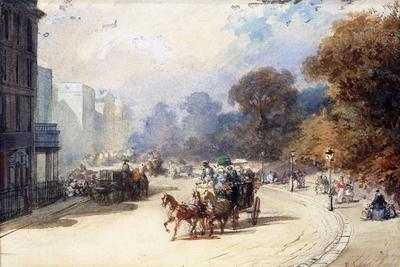 A Carriage at Hyde Park Corner, London, (Pencil, W/C, Bodycolour Heightened with White)