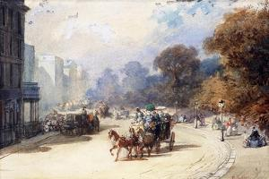A Carriage at Hyde Park Corner, London, (Pencil, W/C, Bodycolour Heightened with White) by Eugene-Louis Lami