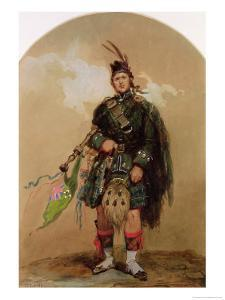 A Piper of the 79th Highlanders at Chobham Camp in 1853 by Eugene Louis Lami