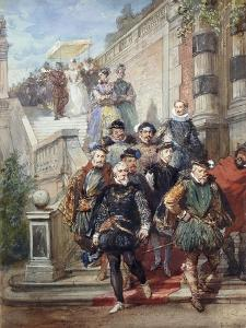 A Royal Procession Descending a Stairway in a Garden, 1869 by Eugene-Louis Lami