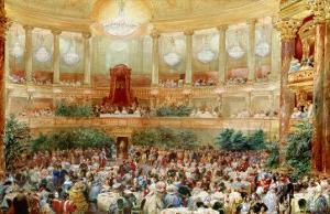 Dinner in the Salle des Spectacles at Versailles, 1854 by Eugene Louis Lami