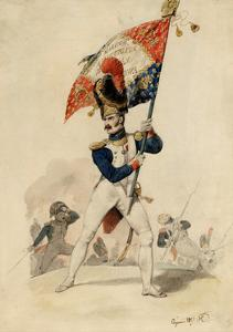 Ensign of the Grenadiers, French Imperial Guard, 1817 by Eugene-Louis Lami