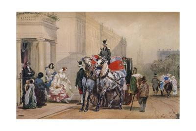 'Ladies Entering Their Carriage in Belgrave Square', 19th century