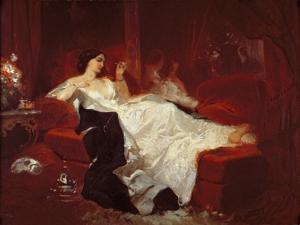 Woman on a Red Sofa by Eugene Louis Lami
