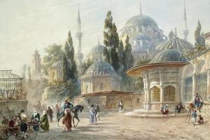 The Sehzade Mosque in Constantinople by Eugène-Napoleon Flandin