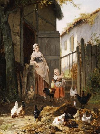 Feeding the Chickens, (Maes and Jan David Col, 1822-1900)