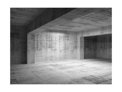 Empty Abstract Dark Concrete Room Interior