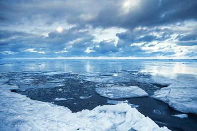 Winter Coastal Landscape with Floating Melting Ice Fragments