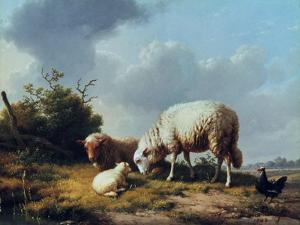Sheep and Poultry in a Landscape, 19th Century by Eugène Verboeckhoven