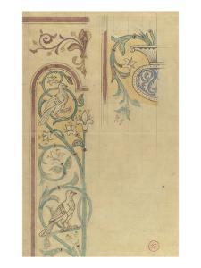Motif décoratif : rinceaux de lys et de feuilles peuplés d'oiseaux by Eugène Viollet-le-Duc