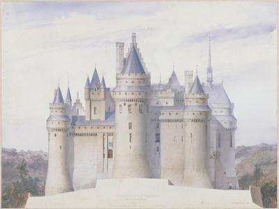 Pierrefonds, château, élévation extérieure sur la ligne C.D. du fossé