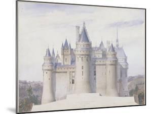 Pierrefonds, château, élévation extérieure sur la ligne C.D. du fossé by Eugène Viollet-le-Duc