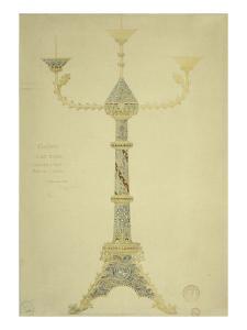 Projet de candélabre à sept branches by Eugène Viollet-le-Duc