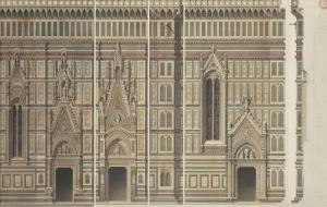 Quatre élévations (détails des fenêtres et des piles) et un profil de la ca by Eugène Viollet-le-Duc