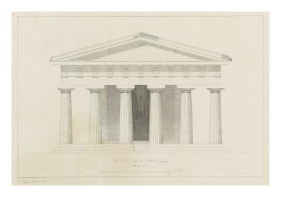 Temple de Paestum : Elévation e la façade restaurée. Côté de l'est