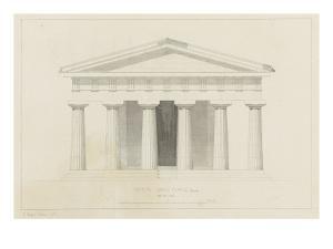 Temple de Paestum : Elévation e la façade restaurée. Côté de l'est by Eugène Viollet-le-Duc