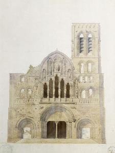Vezelay, église, façade avant restauration by Eugène Viollet-le-Duc