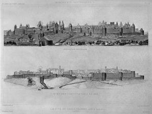 View of Carcassonne from the West Side, State of the Fortifications and the City in 1853 by Eugène Viollet-le-Duc