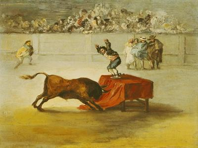 Martincho's Other Folly in the Bull Ring at Saragossa, after a Painting by Goya (1746-1828)