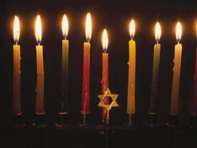 Chanukah Candles and Star of David by Eunice Harris