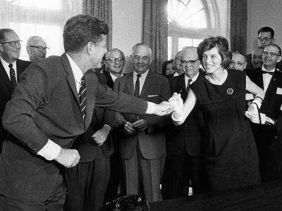 Eunice Shriver Receives a Signing Pen from Her Brother, President John Kennedy--Photo
