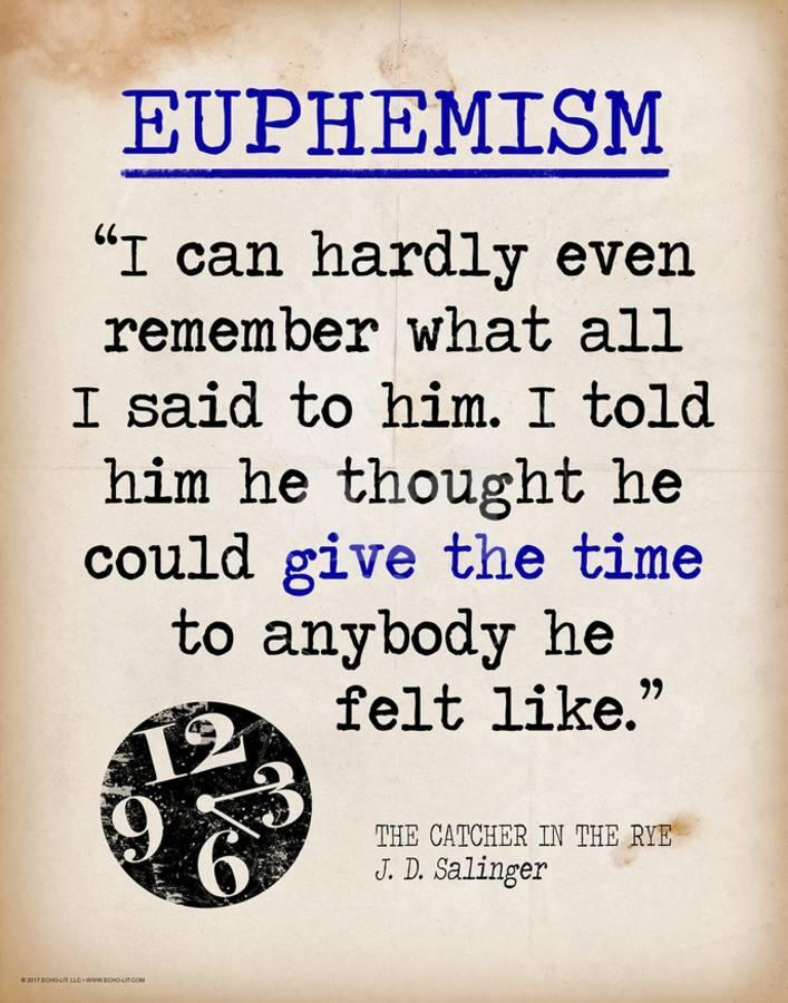 Euphemism Featuring Quote From Jd Salingers The Catcher In The
