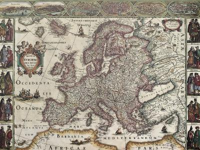 Europa Old Map. Created By Henricus Hondius, Published In Amsterdam, 1623-marzolino-Art Print